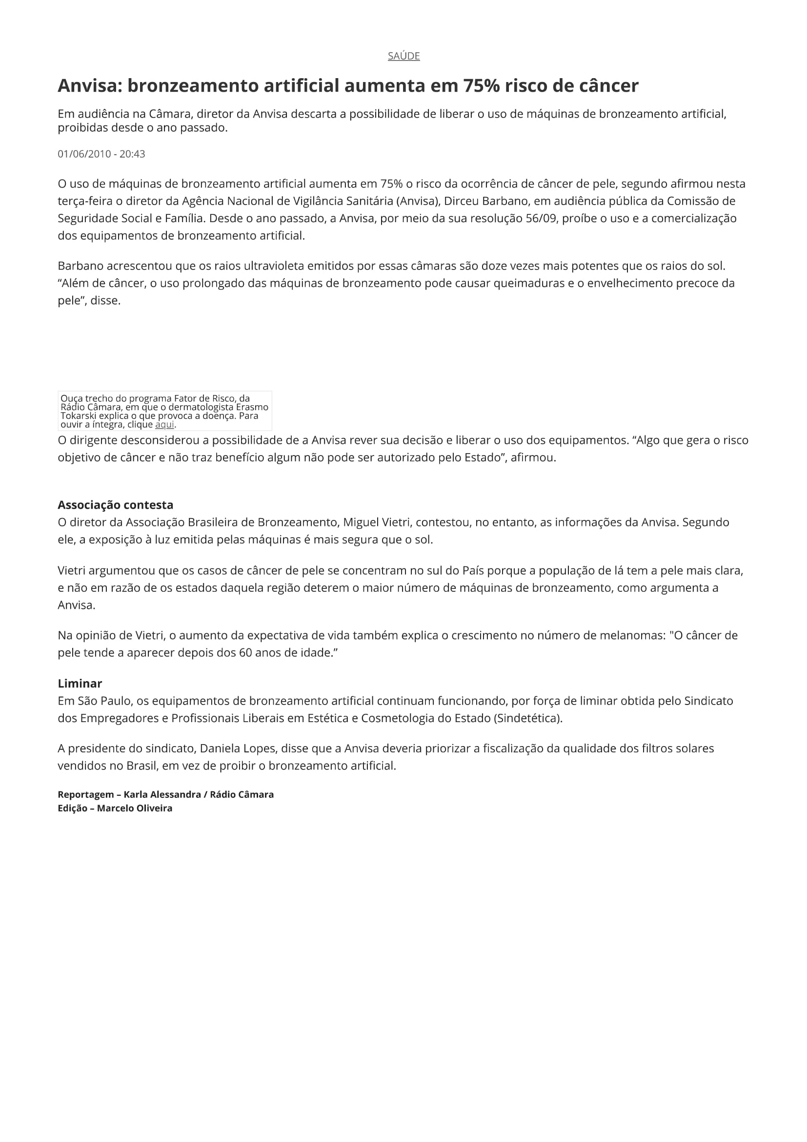 Anvisa: bronzeamento artificial aumenta em 75% risco de câncer